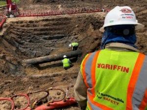 Welding below the pipe during Pipeline Repair Project